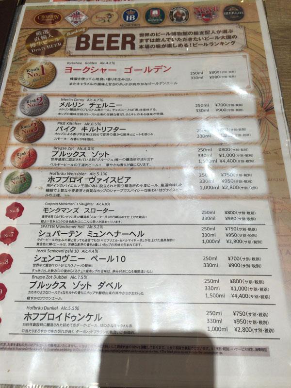 「世界のビール博物館 グランフロント大阪店」ビールランキング